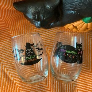 Halloween Wine Glasses set 2 Goblets New witch cat